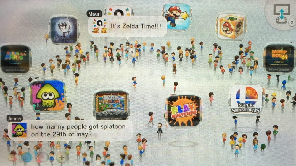 "The Wii U's ""Wara Wara Plaza,"" a gathering place for Miis (and their Miiverse posts) to gather around games that are trending on the system's social network."