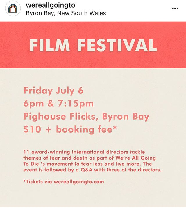 Tonight my new film 'I Wish You A Speedy Crisis' screens in Byron Bay. @wereallgoingto is a wonderful festival full of work by international artists exploring ideas around fearing less and living more 🙌⚡️