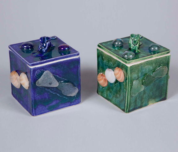 Boxes with shells & sea glass