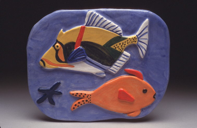 Picasso Trigger Fish & Orange Fish Tile