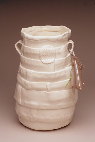 White Pot with Feather