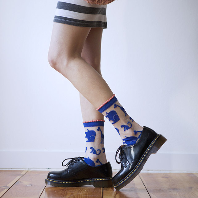 Plastic Zoo Socks in blue (also in yellow and pink).