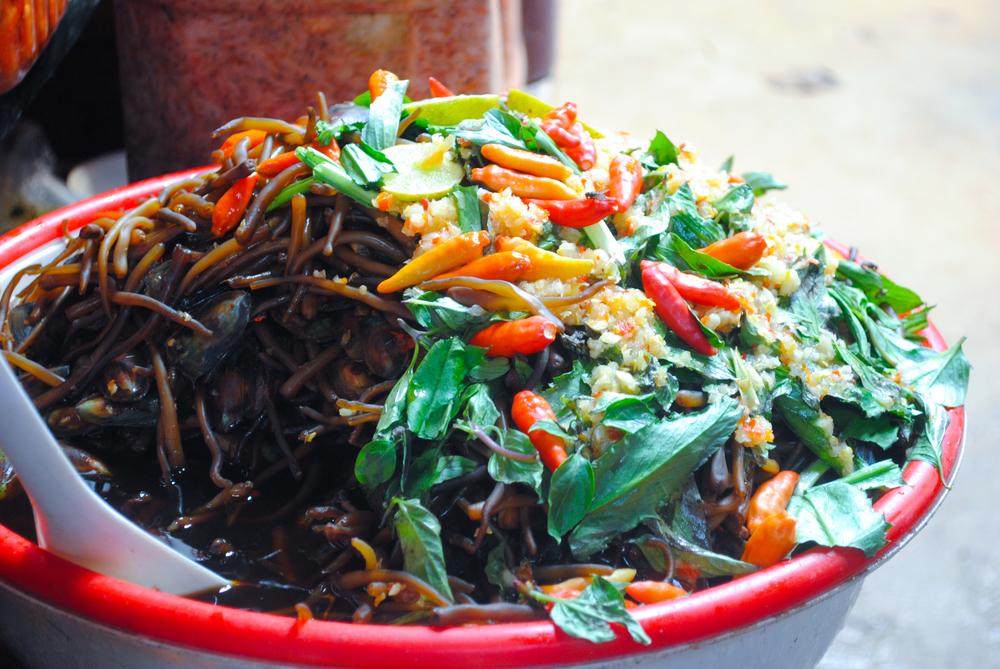 Salads at Kep crab market