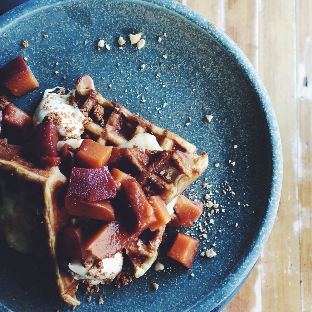 Mum's waffles with poached quince and lemon curd
