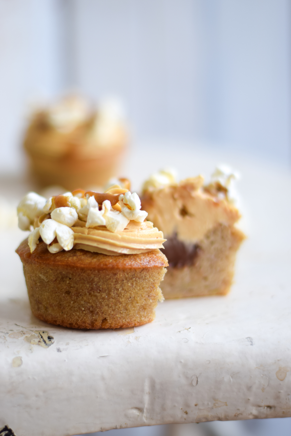 Gluten free banana cupcakes, stuffed with Nutella and topped with ...