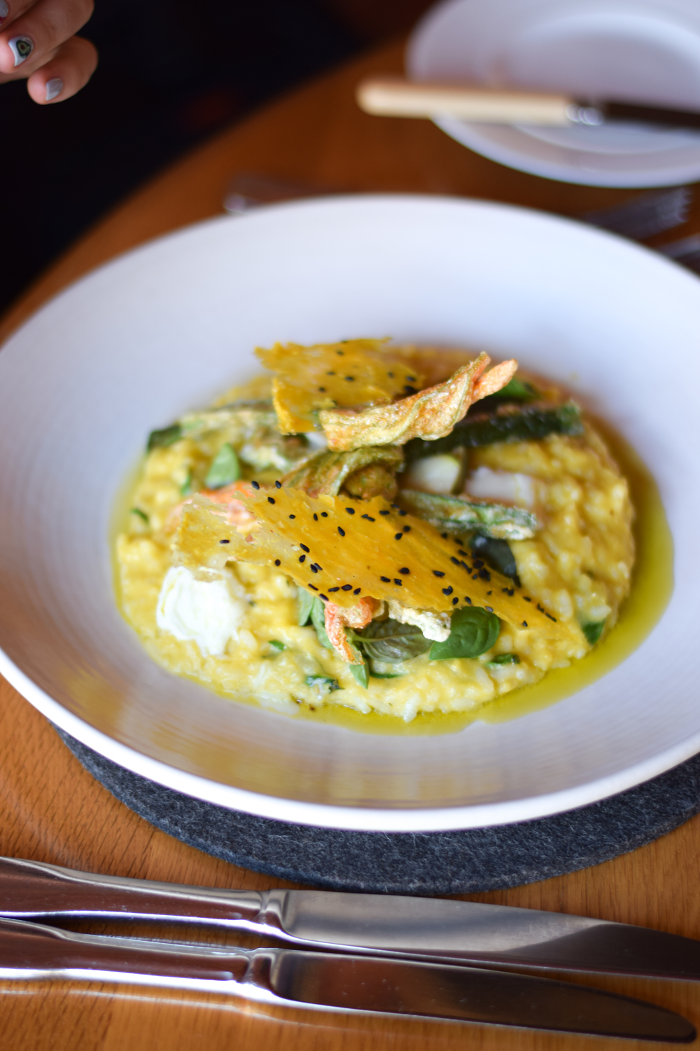 Zucchini flower risotto at Source Dining