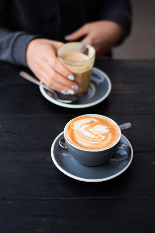 Morning caffeine hit/dog patting at Larder, Daylesford