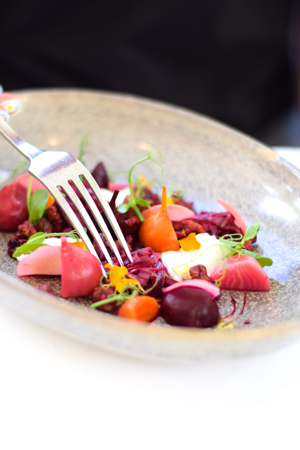 Heirloom beetroot and goats cheese salad at Lakehouse Daylesford