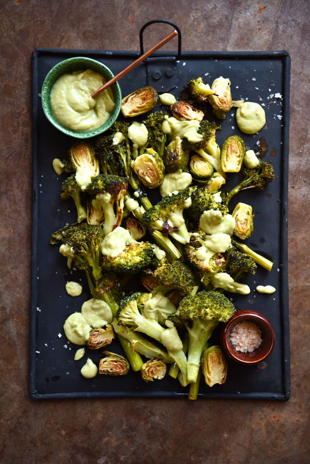 Roasted greens with avocado, wasabi and lime dressing — George Eats