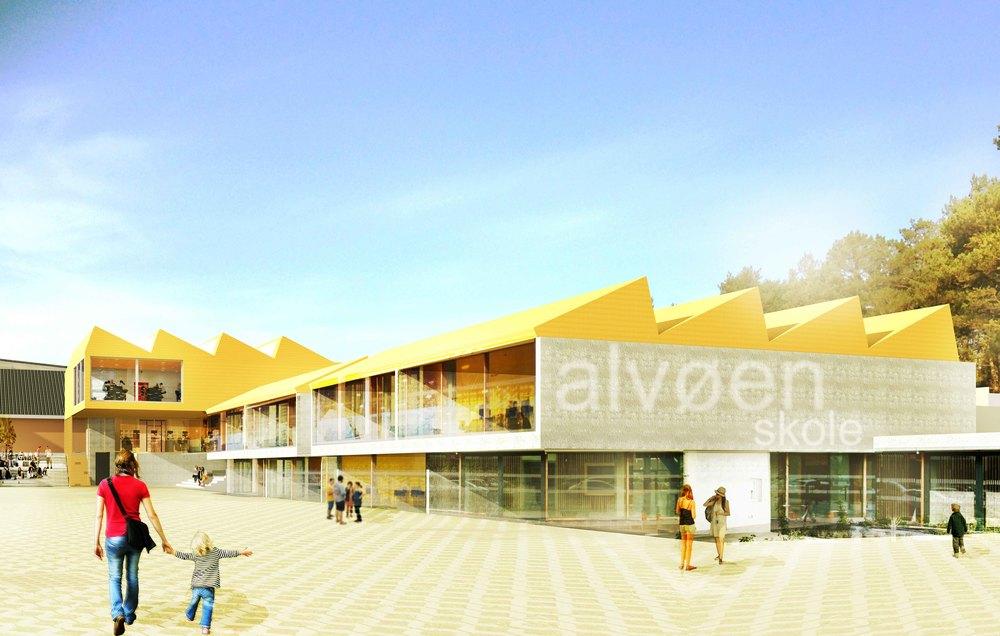 Skisser på tilbygg og påbygg på nye Alvøen skole i Bergen.