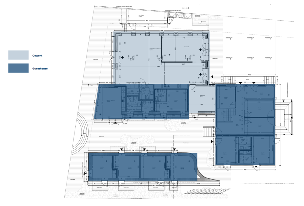 Light blue is reserved for Cowork Klitmøller. Dark blue is reserved for Guest House Klitmøller and thus ten quality double rooms will be part of the building also containing Cowork Klitmøller. It's gonna be awesome. Right = south, facing Ørhagevej.