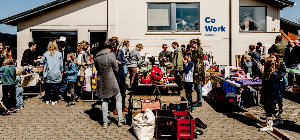 Flea market in front of Cowork Klitmølle - on a sunny afternoon, Spring 2016.