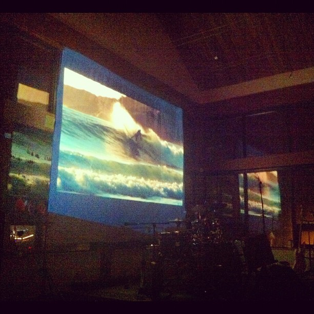 Playing @raincoast 's #groundswell surf & conservation mini-doc on the first show of our Canada tour. 10X10 screen, looks so good. So glad we got all  our gear working without a hitch!!! Went surfing today, very hard & cold. Much respect for Chris Malloy, his brother Dan and Pete Devries (from Tofino!) for tearing it up in the Great Bear Rainforest. #pipeline #enbridge #aboriginalrights #energy (at humanity)