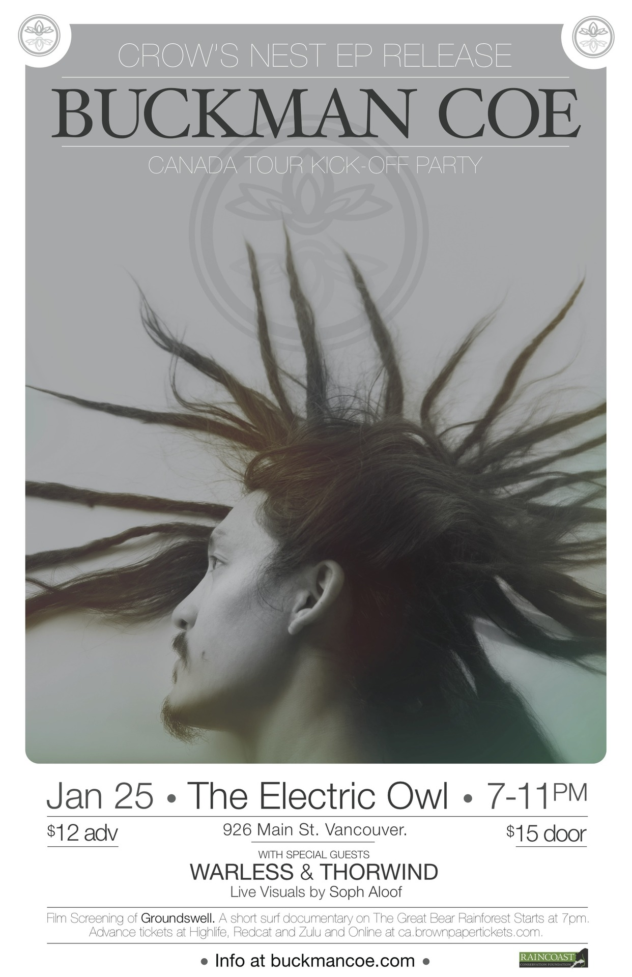 On January 25th I will celebrate my new ep '  Crow's Nest  ' in Vancouver at the Electric Owl. Join the   facebook event  . Advanced tickets can be found at   brownpapertickets   and at  Highlife, Red Cat and Zulu Records. The album can be downloaded or ordered on   bandcamp   and if you're in Canada perhaps I will pass through your town! Check my  shows   on fb.