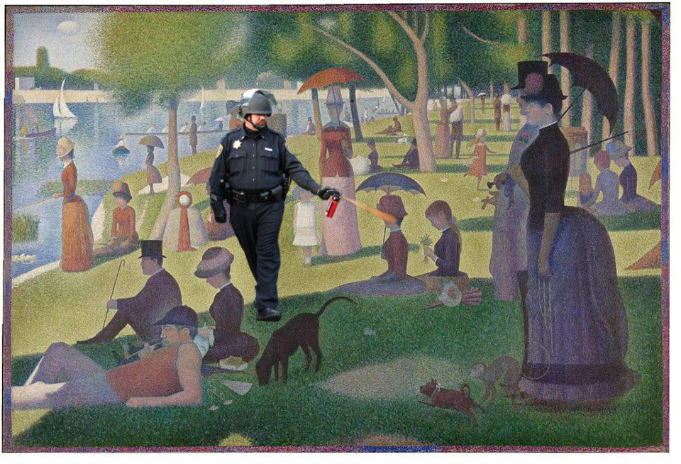 "npr: washingtonpoststyle: An Afternoon on the Isle of La Grande Jatte gets occupied. Also, these paintings. Talk of the Nation's Neal Conan is speaking with Mark Bousquet about his piece, ""Sympathy For Eichmann?"" right now, 3:45pm Eastern. It's about the officer, Lt. John Pike, seen in the meme above. Listen live here, find archived audio here after 6pm, and read Eichmann's piece here. —Sarah"