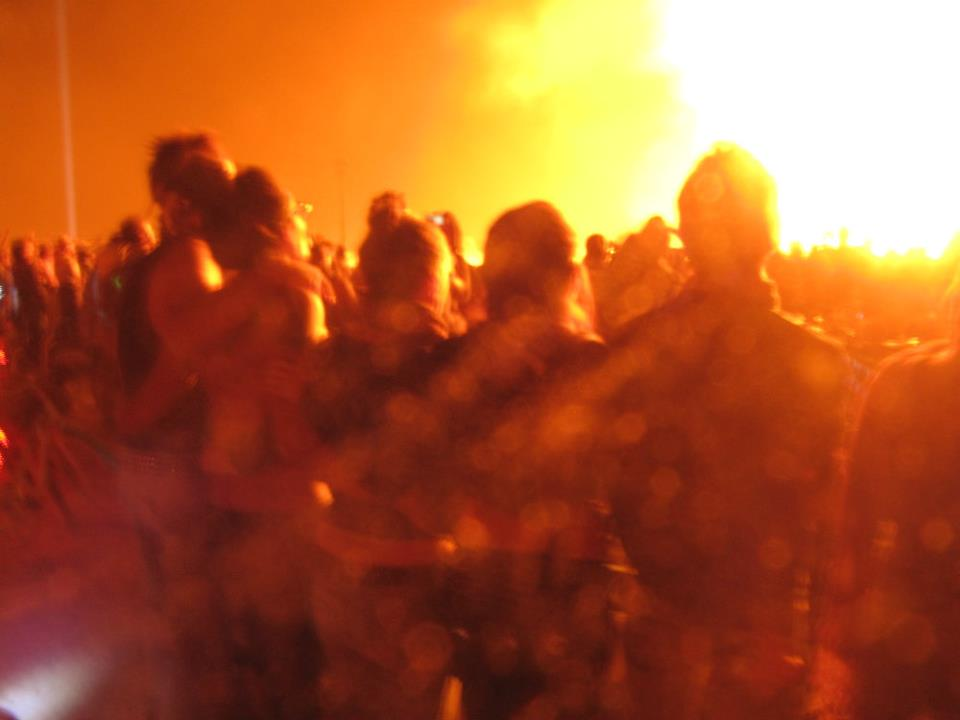 A beautiful moment with friends at the burning of the temple at Burning Man last year.
