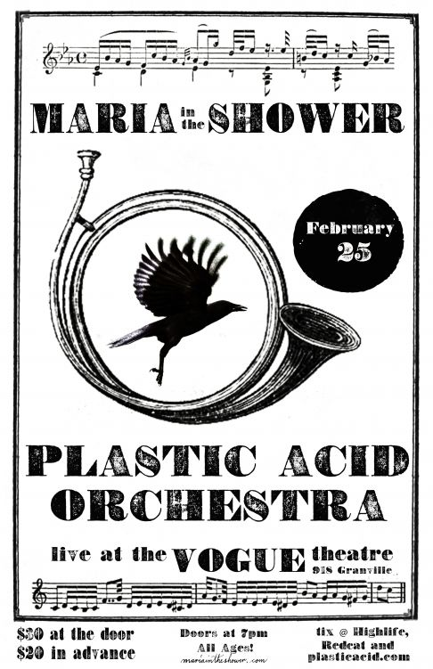 Due to my trip to Memphis and New Orleans, I shall sadly be missing the incredible 45-piece orchestral undertaking of those lovely fellows Maria in the Shower at the Vogue Theatre on Feb 25th… But please do yourself a favor and check it out, and when I am back you can gloat at how mind-opening it was. And I will stick a beignet in your face…     (tickets available online, click the poster)