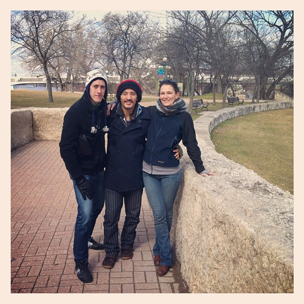 With our Winnipeg host Aiyana at the Forks. These past couple days have been a good recoup after the first week of touring. (Taken with instagram)