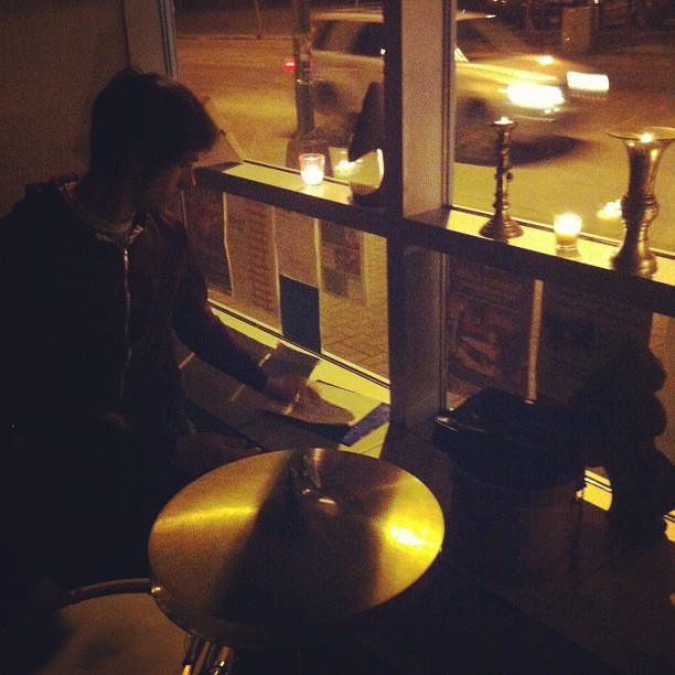 Sam setting up in the dark for Earth Hour, la Fromagerie in Sudbury ON (Taken with  instagram )