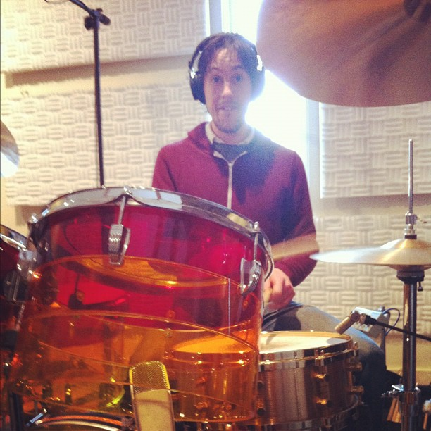 Drum-face @ Audities Recordig Studio. Sam Cartwright in drum heaven. (Taken with instagram)