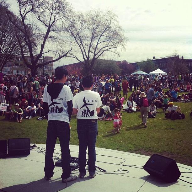Youth 4 Climate Justice Now!!! Sunny day and lovely crowd in Vancouver! (Taken with instagram)