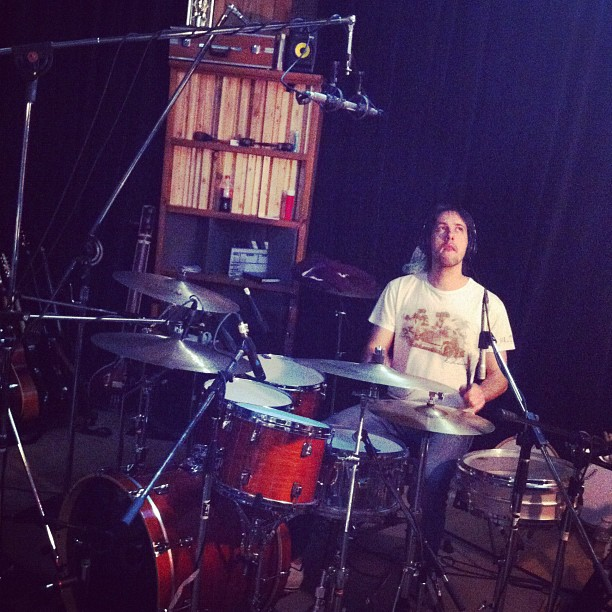 Sam getting set to record 'Love For All Living Things' (Taken with instagram)