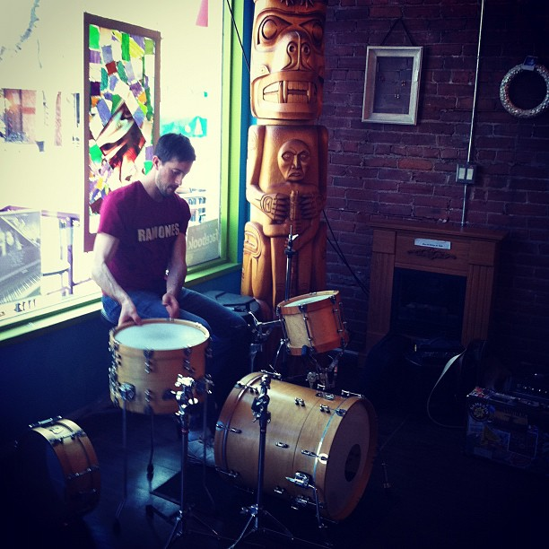 Sam setting up drums at 'The Art We Are' (Taken with  Instagram )