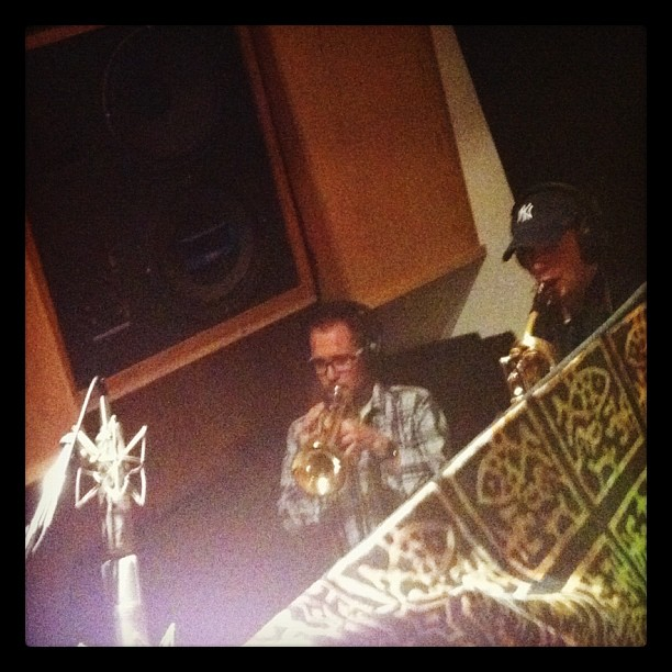 Max Murphy and Ryan Naso laying down some brass for 'Love For All Living Things' - Trumpet & Bari Sax. So good! Sending out the positive vibrations. Next Level!!! (Taken with Instagram)