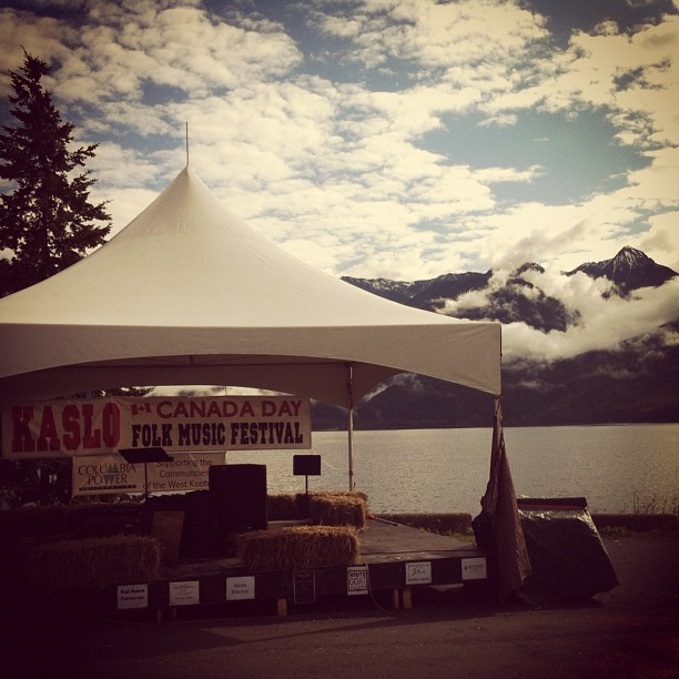 The Kaslo Folk Fest stage in the morning sun… Yesterday it rained while we played but the vibe was still warm and friendly. (Taken with  Instagram )