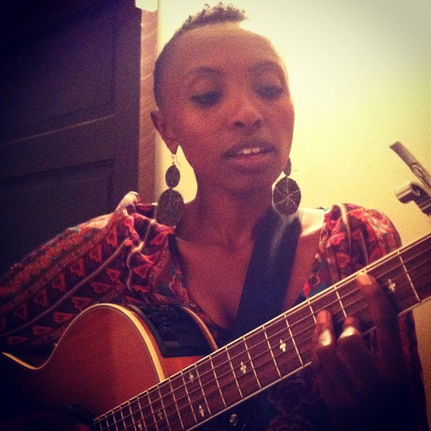 Naomi Wachira at Secret Society, Portland warming up in the stairwell. She's a pint-sized dynamo singing socially conscious Afro-Soul music straight from the heart. (Taken with Instagram)