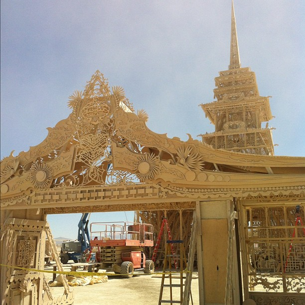 The Temple's final touches on the first day of burning man last Monday… (Taken with Instagram)