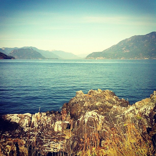 On a kayak day trip on Bowen Island looking north at Black Tusk in the far distance. Thinking about how to make my whale puppet for the Defend Our Coasts action in Victoria (oct 22nd) as I enjoy this amazing sunny day on clear gorgeous waters. (Taken with Instagram)