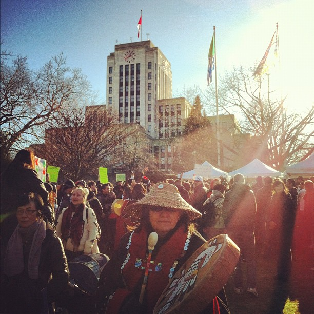 Idle No More. We've arrived at city hall, the atmosphere is electric. The drums pound in our chest. Power and Hope, Defiance and Righteousness in the Sunshine. (at Vancouver City Hall)