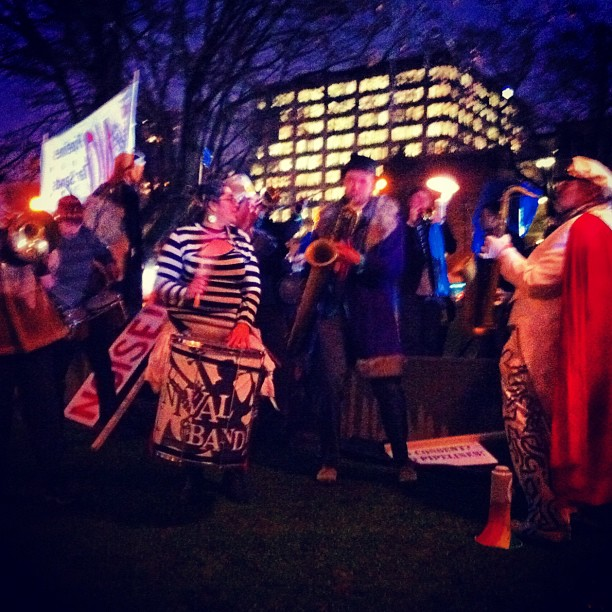 The Carnival Band causing a ruckus at the Rising Tide rally against the pipelines and supertankers (at Victory Square)