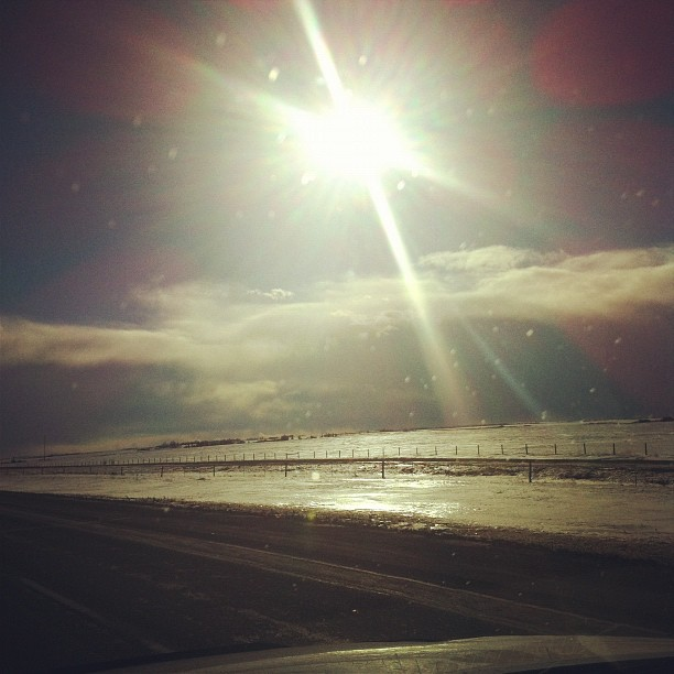 Prairie skies, straight long highway. On our way to Banff for a show at the Elk & Oarsman tonight.