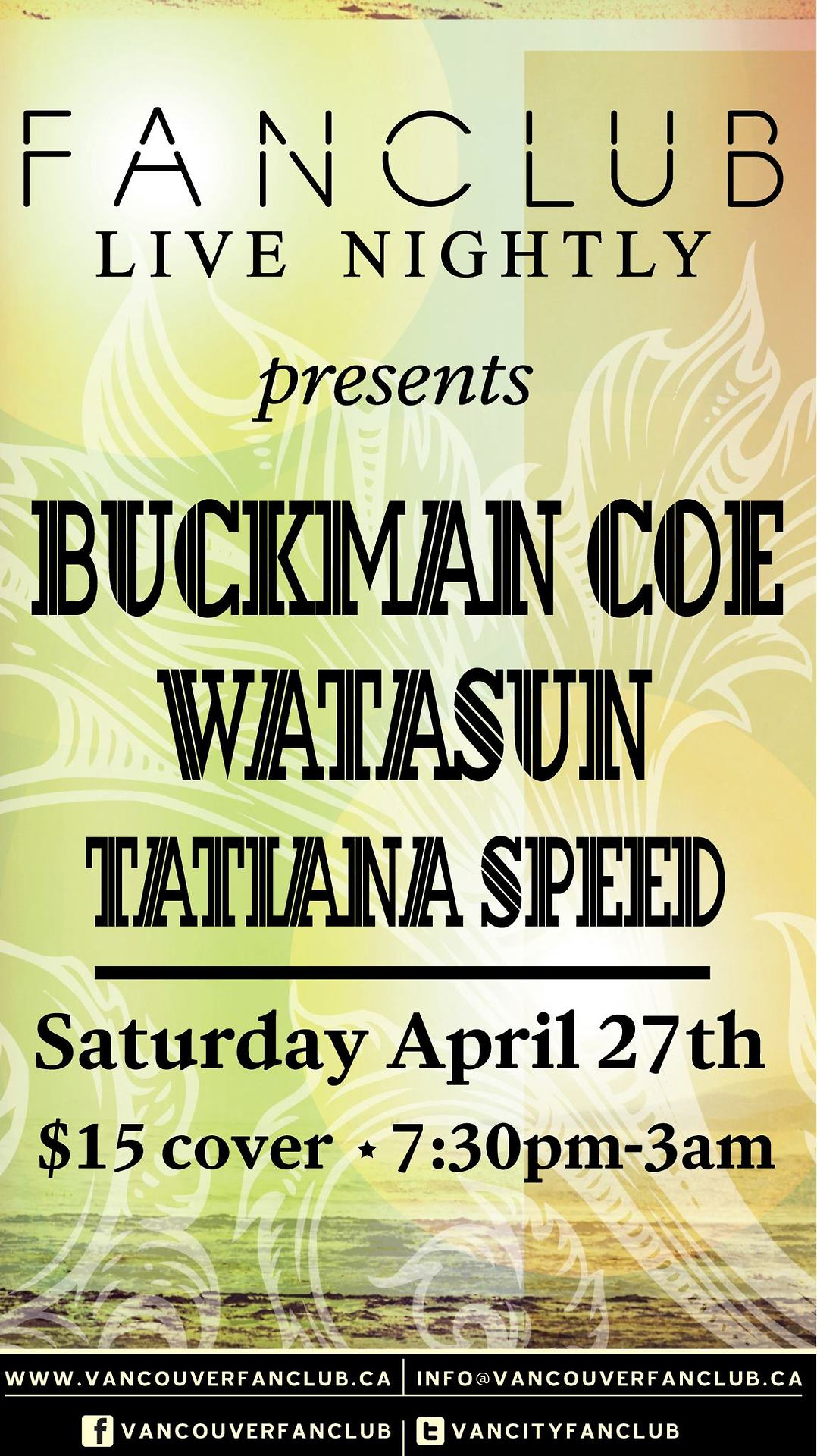 Our buddies Watasun are back together in Vancouver and we'll be helping celebrate with a few hundred of our closest friends at one of our city's newest and finest venues, Vancouver FanClub. We're pulling out the stops and assembling the big band for a late night romp of soul and reggae good vibrations.