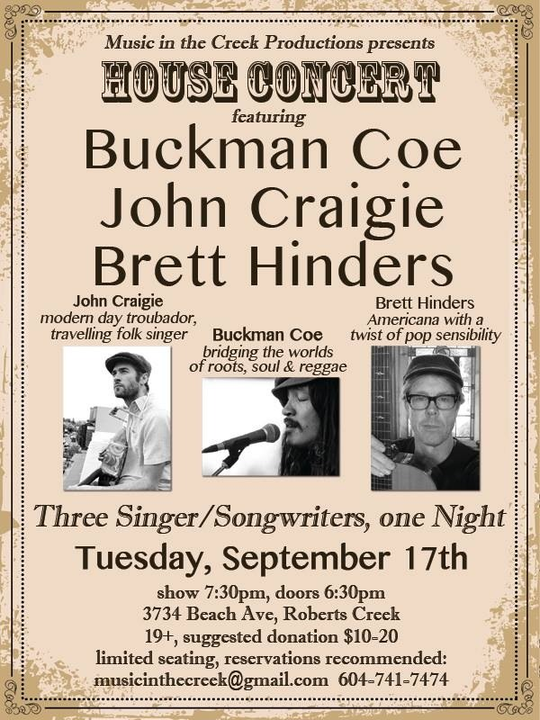 Tonight on the Sunshine Coast with some old friends of mine John Craigie and Brett Hinders. House Concert in Robert's Creek.
