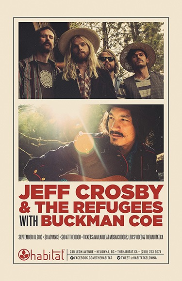 Tour with Jeff Crosby & the Refugees begins tonight in Kelowna, BC at Habitat.