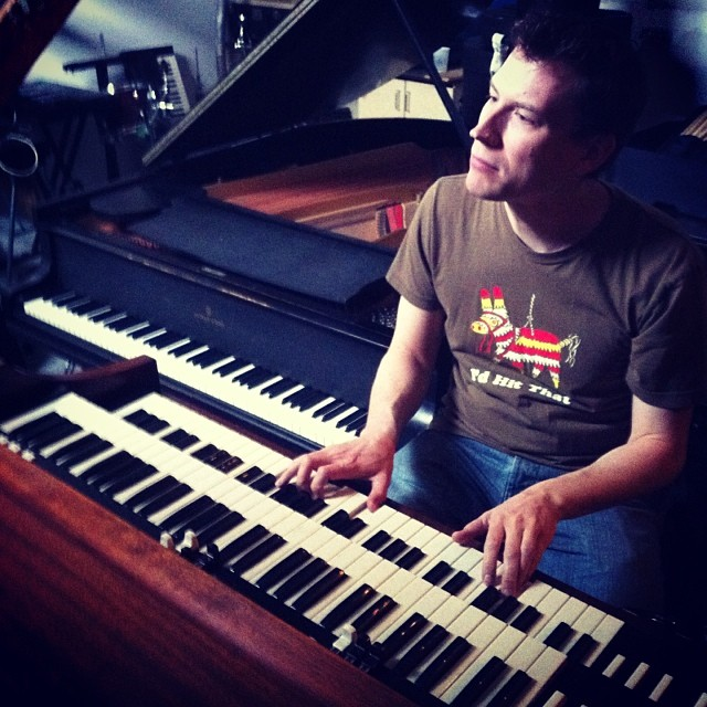This Sunday afternoon we're working on the last 2 songs being produced by Jason Kechely. This is Chris Gestrin, keyboard wizard, he'll be bringing the magic sauce for Red Moon and False Flags. I wrote these on piano, and am so excited to hear them played by a real player. Wait to hear him shred on this Hammond Organ!!! (at Afterlife Studios)