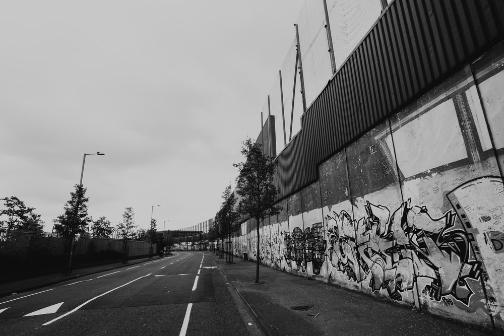 The Peace Wall - Catholic Side /// That separate predominantly Republican and Nationalist Catholic neighborhoods from predominantly Loyalist and Unionist Protestant neighborhoods.
