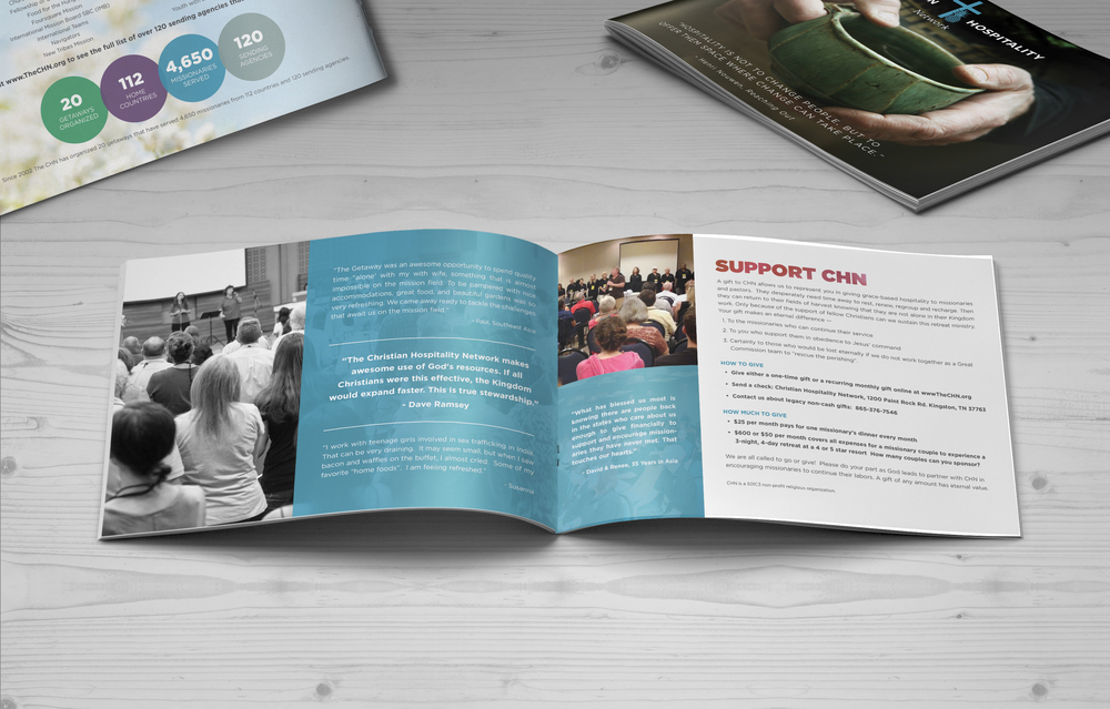 Christian Hospitality Network Brochure    Services provided: Art Direction, Print Design, Photo Editing