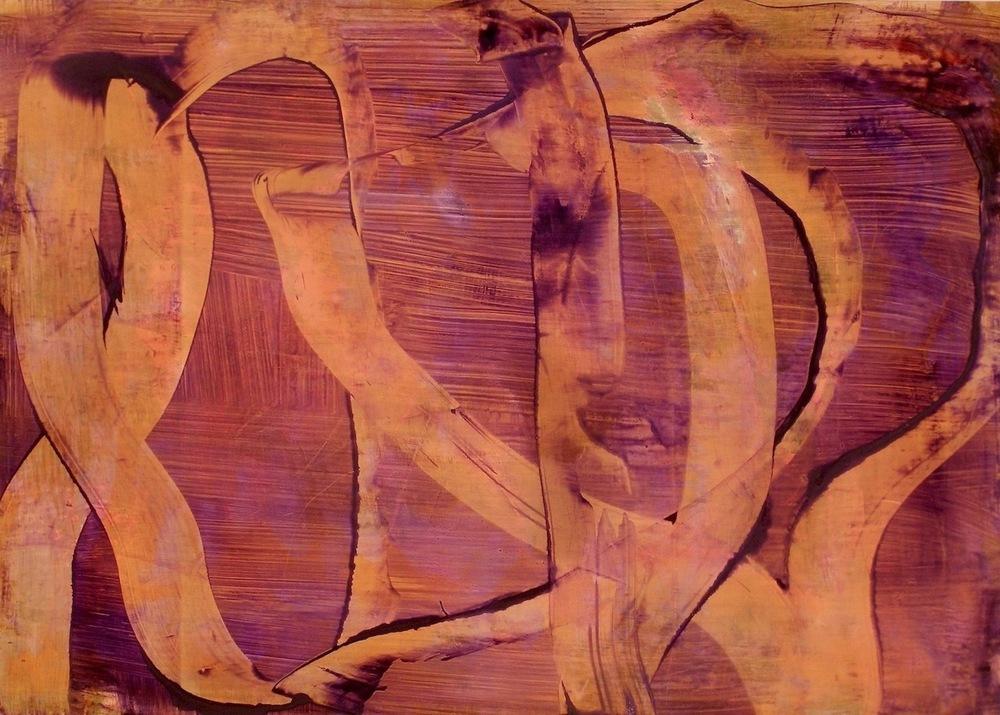 """Unravel, 2013   Acrylic on Yupo, 20"""" x 28"""""""