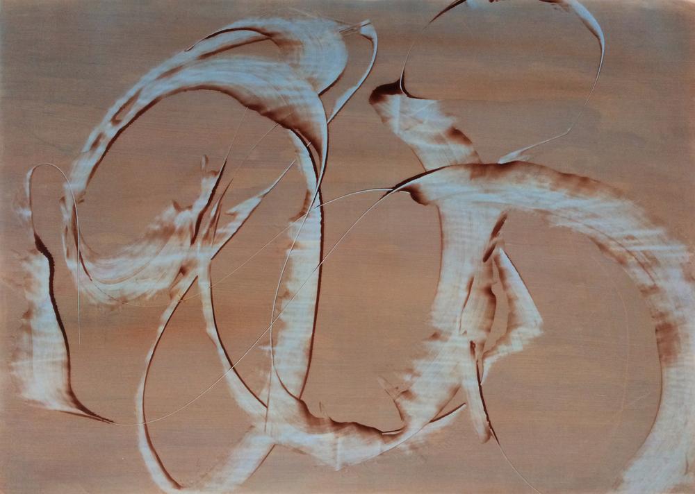 "Catch Me, 2013   Acrylic on Yupo, 20"" x 28"""