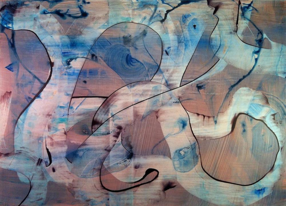 """Freestyle, 2012   Acrylic on Yupo, 20"""" x 28"""""""