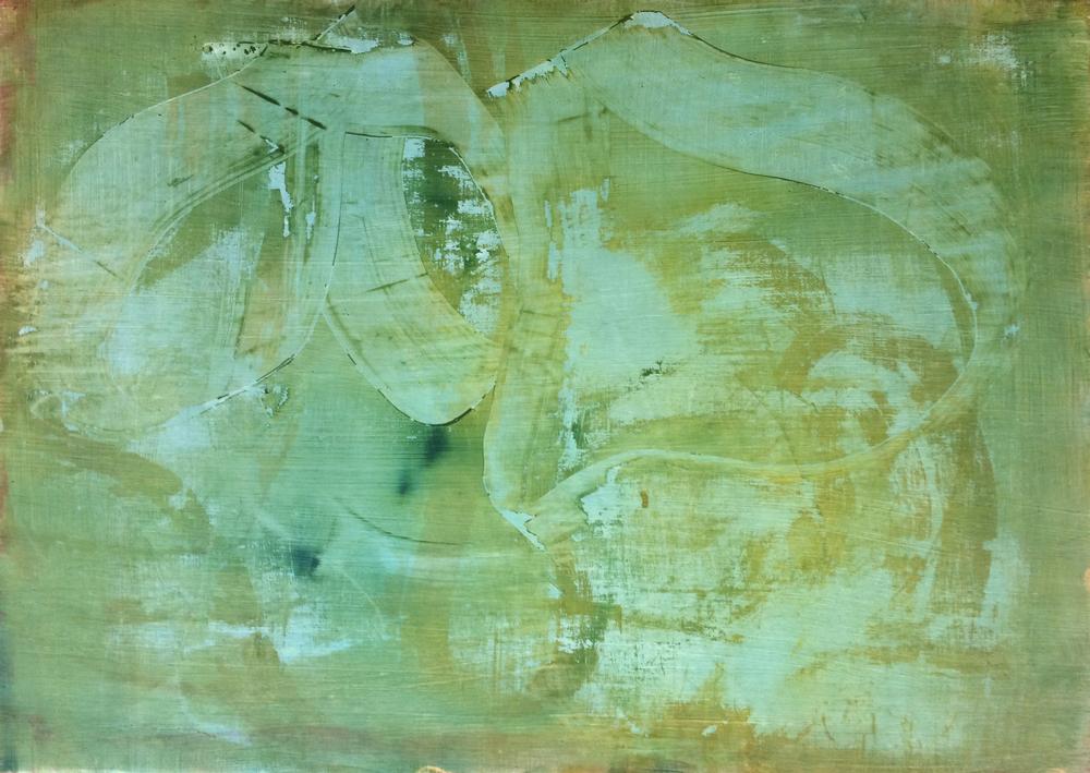 "Field Trip, 2013   Acrylic on Yupo, 20"" x 28"""