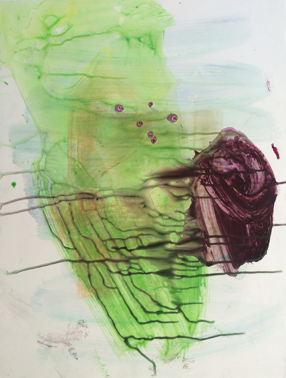 "Bleed, 2015   Acrylic on synthetic paper,  23"" x 17.5"""