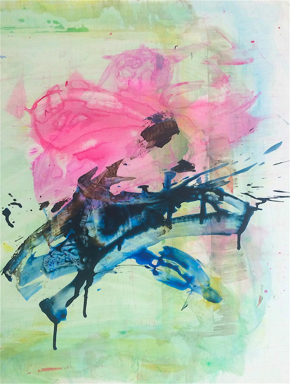 """Outburst, 2015   Acrylic on Yupo, 25"""" x 19"""""""
