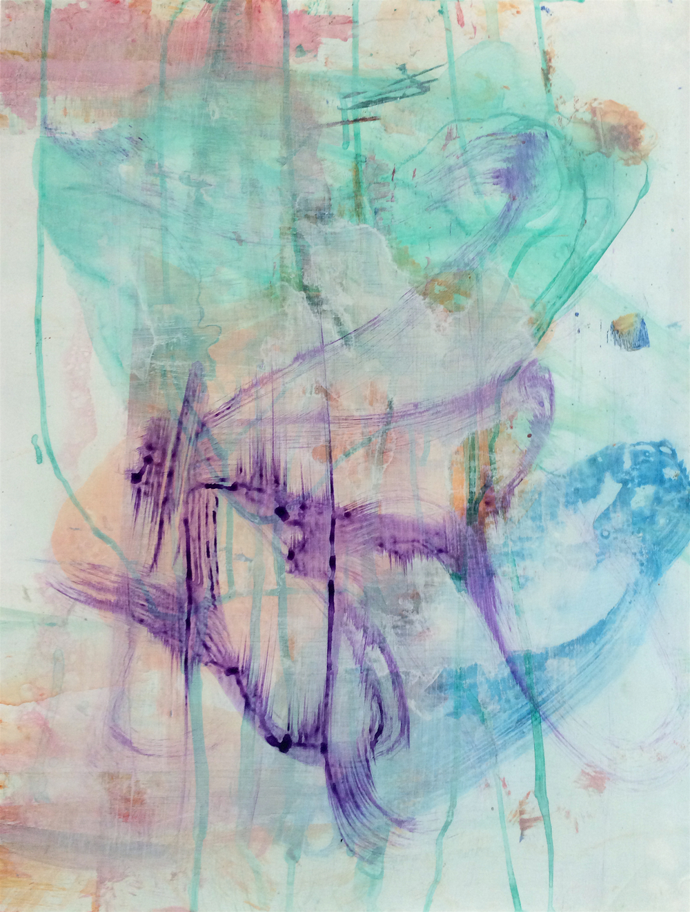 "Swing, 2015   Acrylic on Yupo, 25"" x 19"""