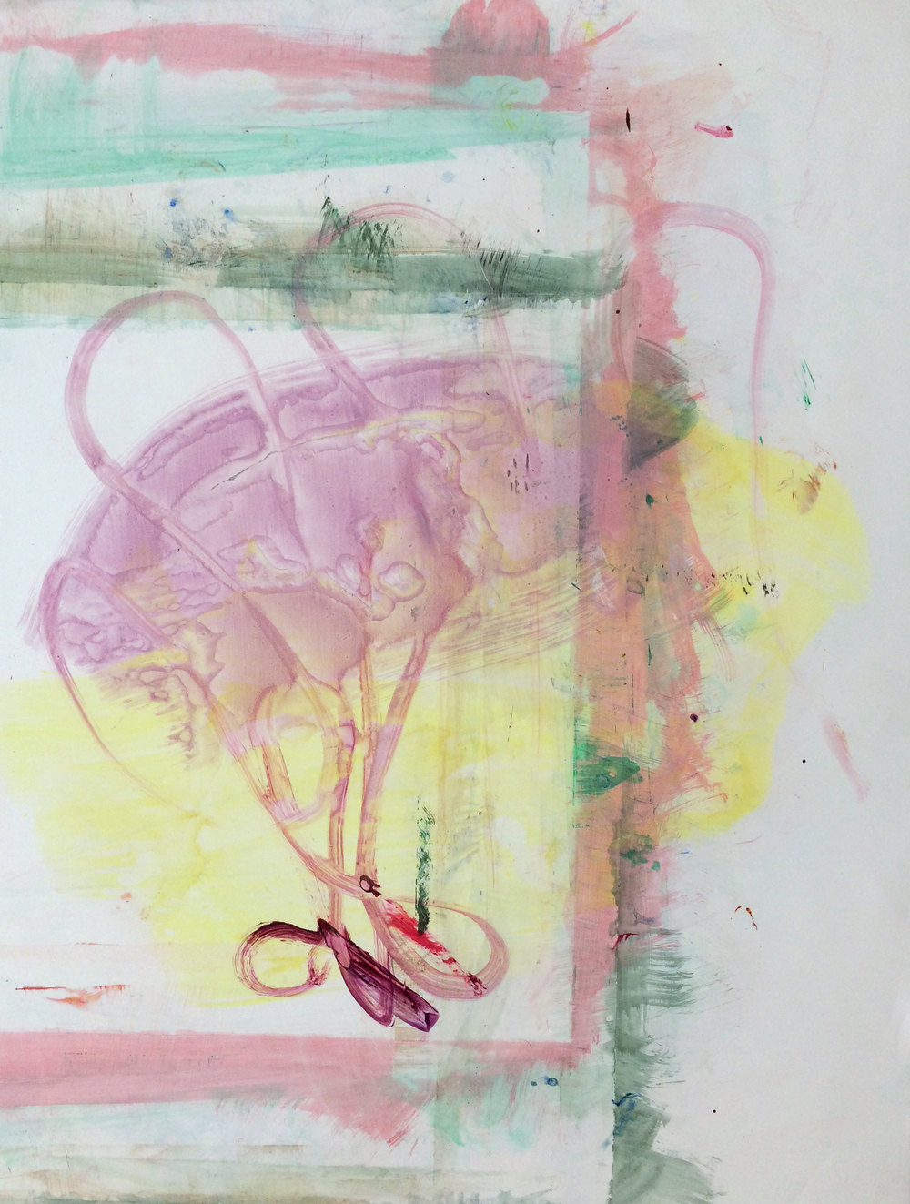"Fly, 2015   Acrylic on Yupo, 25"" x 19"""