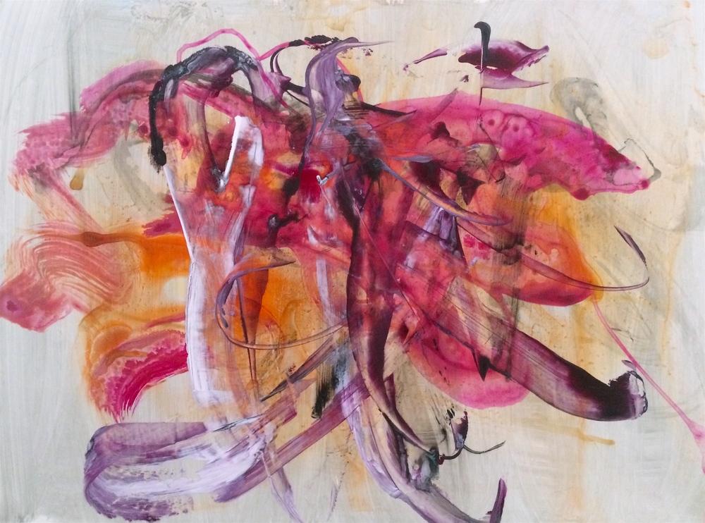 "Flutter, 2016   Acrylic on Yupo, 17.5"" x 23"""